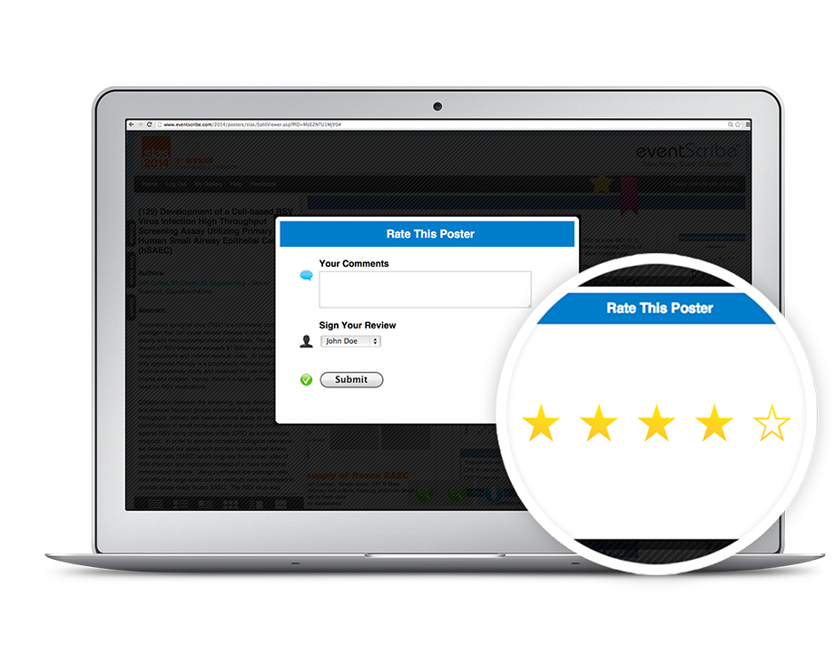 Attendees and users can rank posters in the online ePoster gallery on a 5-star system so they can collaborate with other users.